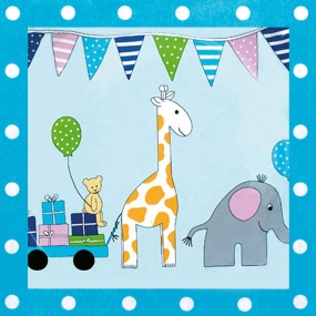 1. Geburtstag Blau Parade der Tiere